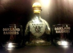 "Etched Oakland Raiders ""Raider Nation"" Patron Tequila Bottle Set 