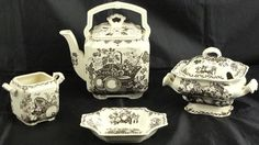 "Mason's - Black "" Fruit Basket"" Large Square Teapot with upright Handle, Square Open Sugar Bowl 9""H, Cornered Square Sauce Boat and Sweat Meat/Bon Bon (6.5"" x 5"")"