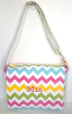 Messenger Bag, school bag for kids, diaper bag embroidered; Riley Blake Girl with pink polka dots adjustable strap #rileyblakedesigns #chevron #messengerbag