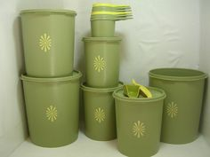 Vintage Avocado Green Tupperware Canisters and by Retrorezurection, $17.00