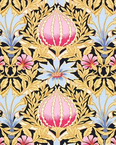 Art Nouveau - William Morris Bouquet - Soft Black