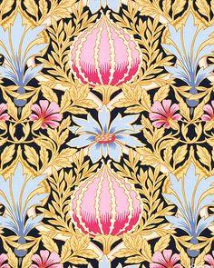 Art Nouveau - William Morris Bouquet - Soft Black