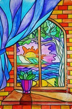 Картина панно рисунок Мастер-класс Витраж Рисунок в витражной технике МК Бумага Краска фото 1