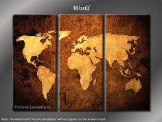 Framed Huge 3 Panel World Map Giclee Canvas Print - Ready to Hang. $99.00, via Etsy.