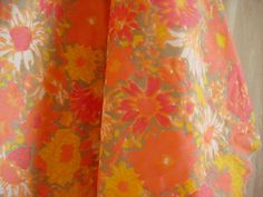 Vintage Orange Floral Swishy Fabric Material 44 by 55 inches
