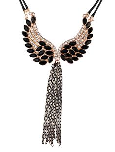 Wing With Stone And Taasel Necklace