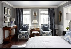 Sarah Richardson creates a quiet refuge in a bustling family home by transforming a master bedroom into a private living space for work, rest and play. Peaceful Bedroom, Bedroom Retreat, Gray Bedroom, Bedroom Decor, Bedroom Ideas, Master Bedrooms, Shabby Bedroom, Blue Bedrooms, Country Bedrooms