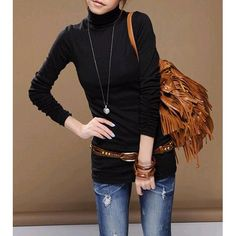 Casual Turtle Neck Long Sleeve Solid Color Women's T-ShirtT-Shirts | RoseGal.com