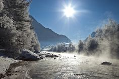 Ötztaler Ache bei Längenfeld im Ötztal Felder, Winter Wonderland, Austria, Waterfall, Places To Visit, Traveling, Snow, Country, Outdoor