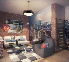 Teenage Room: Exciting Brick Wall And City Wall Stickers With Cozy Sofa In Living Room Fascinating Teen Bedroom Ideas with Fun Interior Plus Teenage Room