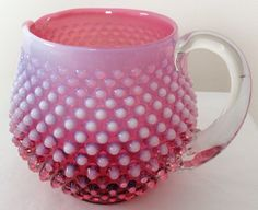Art Glass Reasonable Vintage Fenton Opalescent Cranberry Hobnail Squat Pitcher