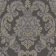 Tirano Grey/ Gold (45007) - Albany Wallpapers - An embossed damask design with a soft sheen embroidered stitch effect on a stipple effect textured background. Shown here in grey/ gold. Other colour ways and coordinating papers available. Please request a sample for true colour match.