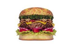MEDEME! ÁSIA: Pão especial, hambúrguer exclusivo de carne de boi e carne de porco (200g), legumes salteados na chapa no óleo de gergelim e shoyo (pimentão, broto de feijão e brócolis), queijo mozzarella, cebola roxa, alface americana, folhas de rúcula e tomate.
