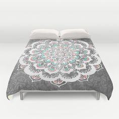 Pastel Floral Medallion on Faded Silver Wood Duvet Cover