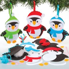 Christmas Arts and Crafts Pack of 6 Baker Ross Wooden 3D Penguins Kits
