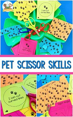 Pets theme fine motor activitiy tray to practice scissor skills. These pet themed printables are perfect for practicing fine motor skills! Cutting Activities, Kids Learning Activities, Motor Activities, Kids Educational Crafts, Educational Websites, Science For Kids, Science Crafts, Scissor Skills, Learning Shapes