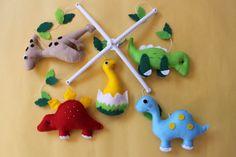 Dinosaur Mobile Nursery MobileBaby Crib Mobile by FeltDreamShop