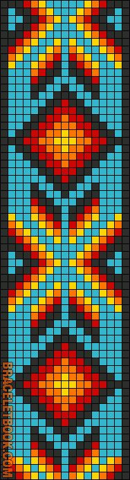 Native American Geometric Design Alpha Pattern Bracelet Chart can also be used for cross stitch