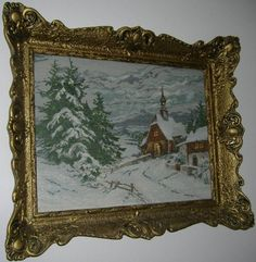 """Original hand made Wiehler Gobelin """" Waldkirchlein im Schnee"""" with frame as you can see on the picture. Dimensions 63 x 47 cm, 30 colours, original thread. Free shipping worldwide. Price: $620."""