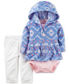 Carter's 3-Pc. Peplum Hoodie, Bodysuit & Leggings Set, Baby Girls (0-24 months)