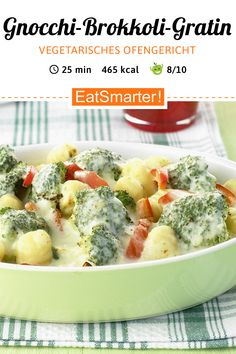 Gnocchi and broccoli gratin - Vegetarian oven dish: Gnocchi-broccoli gratin – smarter – calories: 465 kcal – time: 25 min. Easy Healthy Recipes, Veggie Recipes, Pasta Recipes, Healthy Snacks, Vegetarian Recipes, Easy Meals, Cooking Recipes, Broccoli Recipes, Recipes Dinner