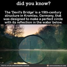 """angiemoney: """" did-you-kno: """" The 'Devil's Bridge' is a structure in Kromlau, Germany, that was designed to make a perfect circle with its reflection in the water below. Source """" Love it """" Oh The Places You'll Go, Cool Places To Visit, Places To Travel, Wow Facts, Wtf Fun Facts, Crazy Facts, Random Facts, The More You Know, Did You Know"""