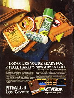 Pitfall II game for the Atari 2600 from Activision Retro Gaming Ad #ads #retrogaming #oldschool