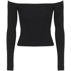 TopShop Clean Bardot Off-the-Shoulder Top ($36) ❤ liked on Polyvore featuring tops, shirts, crop tops, t-shirts, black, off-the-shoulder tops, rayon shirts, off shoulder crop top, long-sleeve shirt and off the shoulder shirts