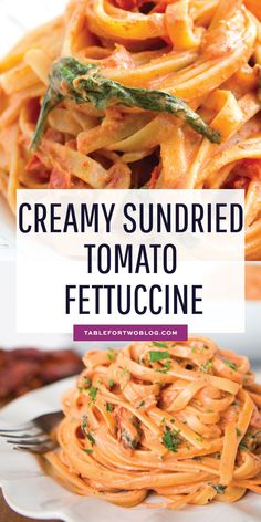 A lightened up version of our favorite pasta dish at Cheesecake Factory! Sundried tomato fettuccine is SO creamy and delicious. No guilt here! # pasta dishes Creamy Sundried Tomato Fettuccine - Table for Two® by Julie Wampler