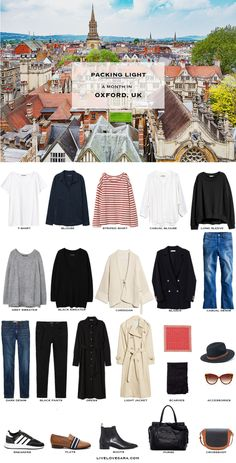 What to Pack for Oxford, UK Packing Light List | What to pack for the United Kingdom | What to Pack for Oxford | Packing Light | Packing List | Travel Light | Travel Wardrobe | Travel Capsule | Capsule |