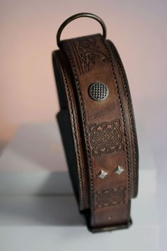 Custom Proud Veteran Concho on a Chocolate Harness Leather Trifold Wallet Proudly made in the USA.