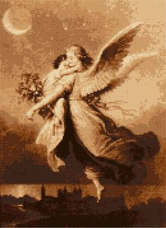 A personal favorite from my Etsy shop https://www.etsy.com/listing/293307321/vintage-guardian-angel-cross-stitch