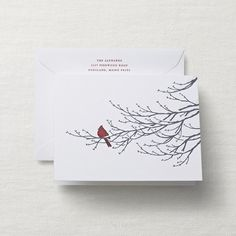 Letterpress Perfectly Perched Holiday Card
