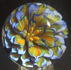 "RPC Marbles! 1.63"" Hand Made Art Glass Marble ""Rich Palette"" Handmade Boro #PremiumMarbles #Contemporary"