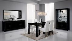 Salle à manger complète noir laqué design PHOENIX - HcommeHome