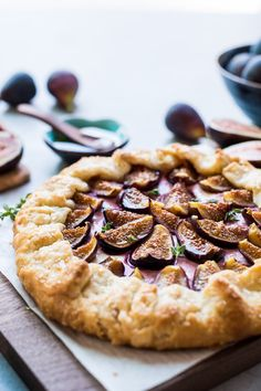 Fig, Honey and Goat Cheese Galette is a fig lover's dream, and one of my favorite ways to enjoy fig season. Nestled in a flaky, buttery crust are sweet figs, tangy goat cheese and drizzles of sweet honey. Fig Recipes, Dessert Recipes, Cooking Recipes, Waffle Recipes, Burger Recipes, Fig Season, A Food, Food And Drink, Bakers Kitchen