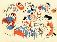 "Illustration from Lois Lenski's book ""Let's Play House""."