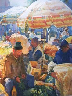 Geoffrey Wynne Acuarelas - Watercolours: MARRUECOS, VENDIENDO EN EL MERCADO - MOROCCO, SELLING IN THE STREET MARKET