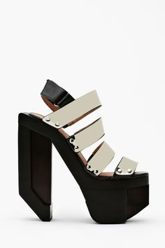 Today's So Shoe Me is the Machine Platform by Jeffrey Campbell, $230, available at Nasty Gal. Rock, revel and roll in rave robotic heels with a high tech design by Jeffrey Campbell.