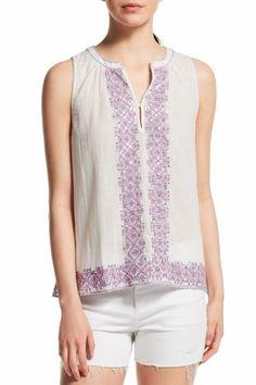 Pari Embroidered Cotton Gauze Top  | Calypso St. Barth