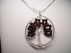 Genuine Garnet and Sterling Silver Tree of Life by gandltreasures