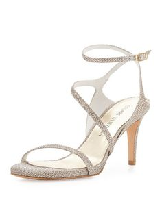 Sultrymid+Glitter+Fabric+Evening+Sandal,+Platinum+by+Stuart+Weitzman+at+Bergdorf+Goodman.