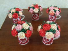 Mini cupcake bouquets in a mug