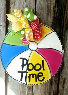 Summer door hanger, Beach Ball door hanger by ReLoved Treasure, pool door hanger Beach Ball Crafts, Summer Crafts, Pool Signs, Backyard Signs, Wood Crafts, Diy Crafts, Burlap Door Hangers, Spring Door, Wooden Doors