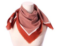 43b7df6278b1 Laine rustique marron foulard des années 1960 Vintage pied de poule imprimé  Ivoire frange brun rouille