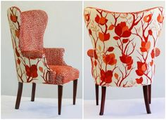 Great use of two different fabrics on one chair.