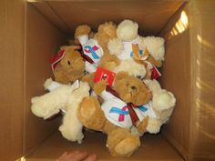 Our one thing that wasn't handmade:  An entire box of donated bears from Project B.E.A.R. Bringing empty arms reprieve.  They are so kind to donate so many!  http://www.facebook.com/groups/smallangelbabies/ and http://www.projectbear.us/