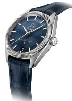 Omega Globemaster - blue dial - angle