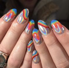 Rainbow nail art designs are very popular this season. Some women like rainbow nails. Rainbows may have different meanings in one's life. It can be a basic way to indicate life and its many stages of mental state. If you also like rainbow nails, lo Cute Nails, Pretty Nails, Hair And Nails, My Nails, Rainbow Nail Art Designs, Nagellack Trends, Rainbow Nails, Holographic Nails, Beautiful Nail Designs