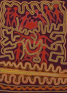 Kurntika Jimmy Pike, Kalykalywurtu, 1988, synthetic polymer paint on canvas, 76.0 x 55.7 cm, National Gallery of Victoria. Here Pike depicts the site of Kalkalwurtu associated with the Seven Sisters Dreaming.